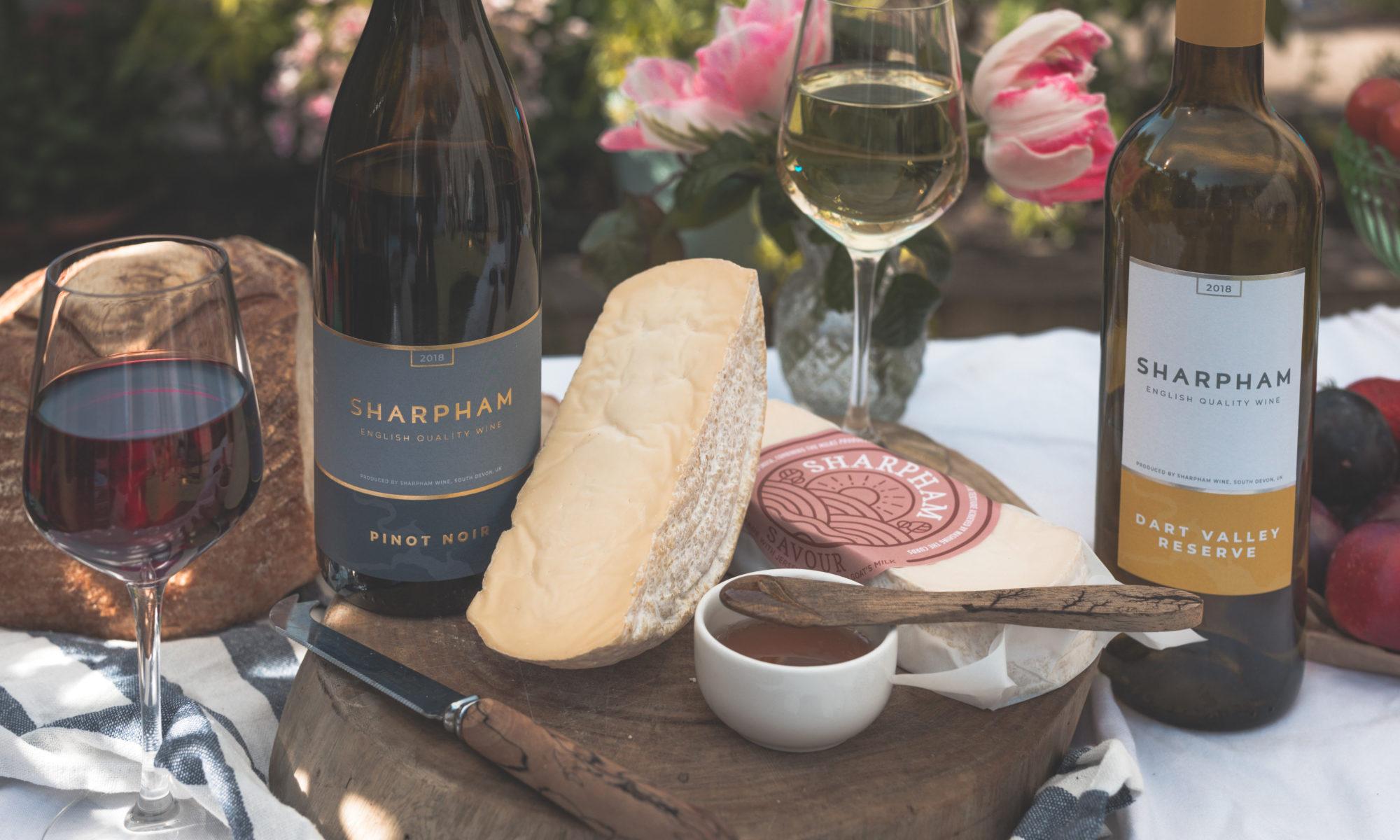 sharpham cheese and wine in sunshine food press