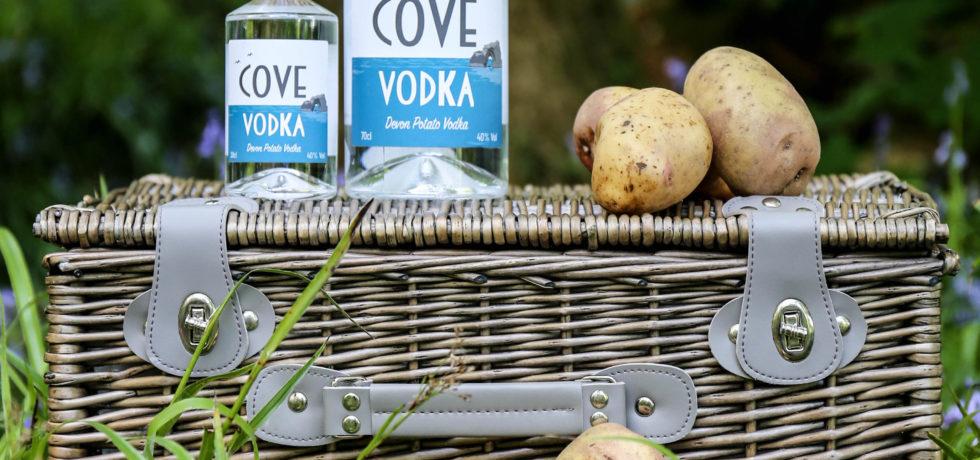 cove vodka with king edward potatoes picnic basket